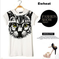 Wholesale Big Cat Face Shirt - Wholesale 2017 New Glasses big cat face Casual Women Loose Tops T-shirt Tees Shipping with Tracking