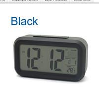 Wholesale Digital Snooze Alarm Clock Bedside - Snooze Large Digital LCD Alarm Clock bedside clock with backlight Sensor Light--White  Black Pink 5 color optional