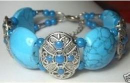 Bracelets rouges pas cher en Ligne-Gros pas cher beau Tibet argent Turquoise Bracelets rouge et bleu