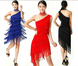 Wholesale Latin Dance Tassel - Women Latin Dance Tassel Slim Skirt Costume Ballroom Dancing Cocktail Dress