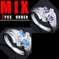 2PCS MIX ORDER femmes Twin-coeur 5mm Bleu Topaze Violet Amethyst Silver Ring Yin Taille 6 K017R014