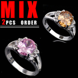 Wholesale Pink Citrine Rings - 2PCS MIX ORDER Womens 8x10 Oval Cut Pink Cubic Zirconia Brown Citrine Silver Ring Yin SZ 6 K057R042
