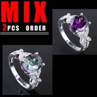 Wholesale Butterfly Womens Ring - MIX 2PCS LOW PRICE Womens Silver Ring Butterfly Oval Multicolor Topaz Amethyst K088R077 Size 7