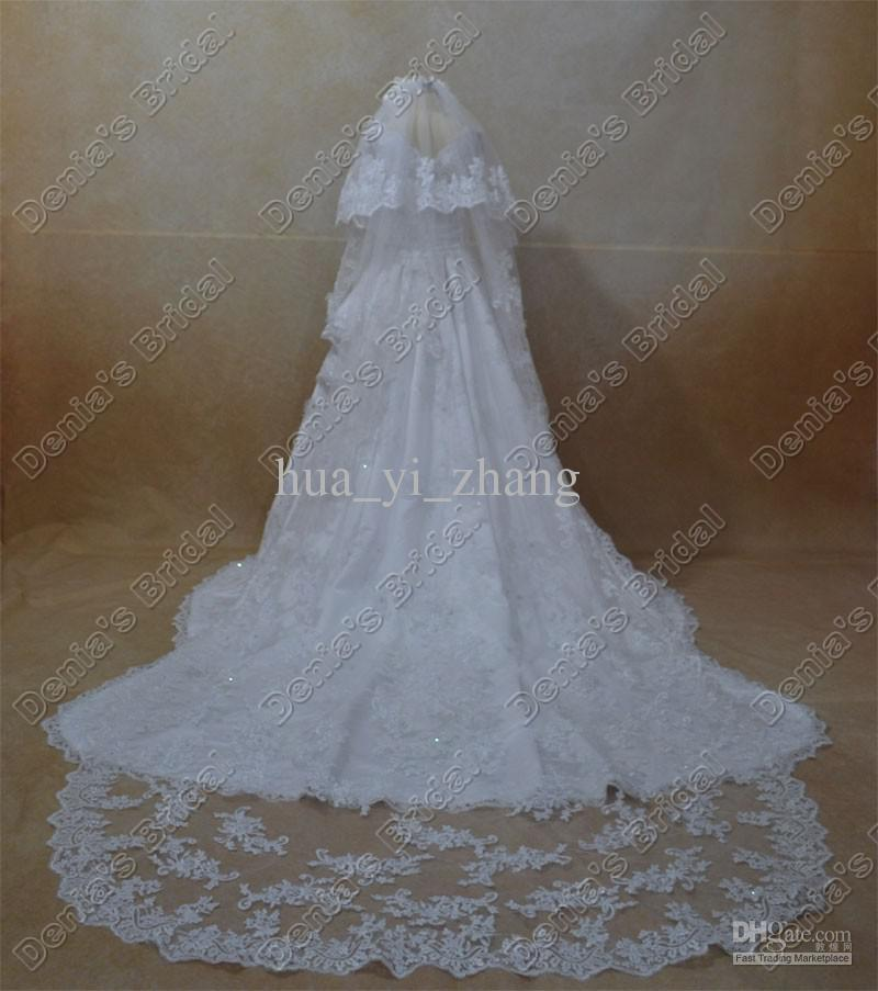 2016 mariée mariage dentelle voiles deux niveaux fleurs à la main perlée dentelle appliques long tulle voiles de mariée