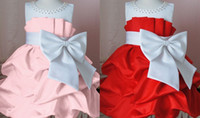 Summer blast ball - Best selling blasting over big bowknot girl dress is pink Big red baby dress retail