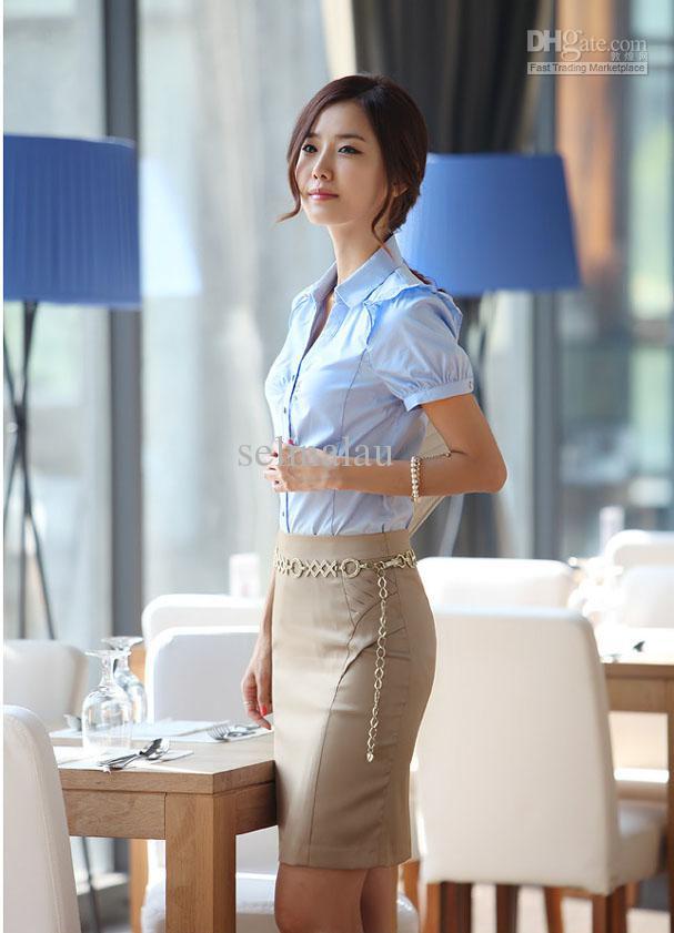 Women Short Sleeve Shirt Work Wear Overalls V Neck Shirt Work Wear ...