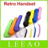 Wholesale Low Prices For Cell Phones - Lowest Price 30pcs colorful 3.5mm Retro Radiation Telephone Colorful Handset for Mobile Cell Phone
