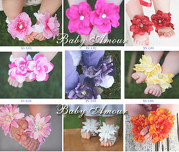 Wholesale Crochet Baby Boy Shoe - Wholesale BABY Sandals baby Barefoot Sandals Foot Flower Foot Ties baby Toddler flower Shoes