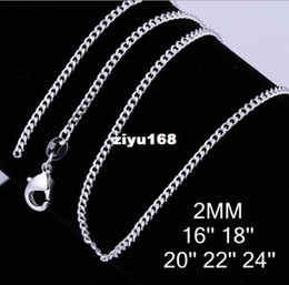"Wholesale Sideways Jewelry - Fashion Jewelry 10pcs 2MM Sterling Silver 925 Stamp Flat Sideways Chain Necklace 16""-24"" Christmas Gift Free Shipping"