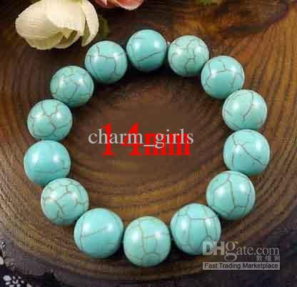 2017 vendite calde perline fatti a mano * gioielli moda 14mm turchese tallone bracciali elasticizzati bracciale tibetano bracciale