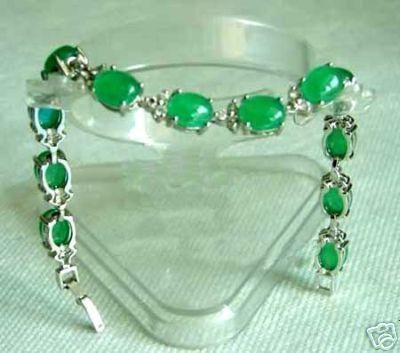 Atacado barato rara verde jade pulseira de prata