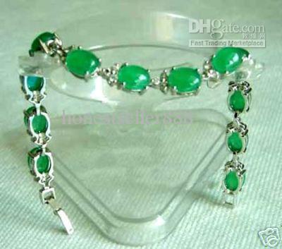 Groothandel goedkope zeldzame groene jade zilveren armband