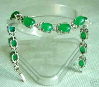 Wholesale Tennis Bracelet Cheap - Wholesale cheap Rare green jade silver bangle bracelet