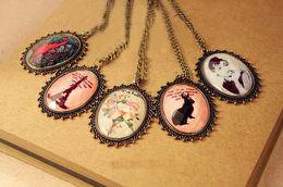 Wholesale Mix Pendant Cameo - 20pcs* Vintage cameo necklace Eiffel tour flower animal monreo retro lece jewellery 5 style mix