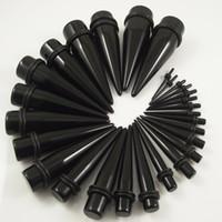 Wholesale Size Stretcher Plug - 280PCS Free Shipping Wholesale 14 sizes Black Ear Expander Ear Taper Stretchers Ear Plugs UV Body Pi