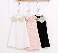 Wholesale Yarn Dolls - 2013 Girls Dresses Lace Doll Collar Fashion Yarn Lace Princess Dress 3 Colors Children's Clothing