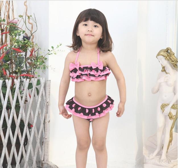 Zomer Meisjes Strand Bikini Badmode Bowknot Wave Point Fission Style 3 stks met Cap Kids Badmode