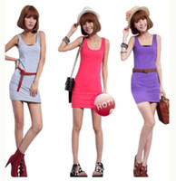 Candy Colors Lady' s Long Tank Top H Back Vest Dress Ves...