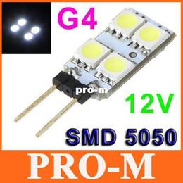 Wholesale G4 Boat Light - 12V G4 Lamp Bulb 4 White LED SMD 5050 Light Home Car RV Marine Boat LED Lighting Free Shipping
