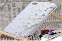 Wholesale Decoration Kits For Mobile Phone - 3D luxurious white flower tassel Rhinestone art craft cellphone mobile phone case DIY kits decorations glue