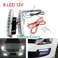 Wholesale Drl Car E4 - 8 LED Super Bright White DRL Car Daytime Running Light Head Lamp Universal Waterproof Day Lights E4