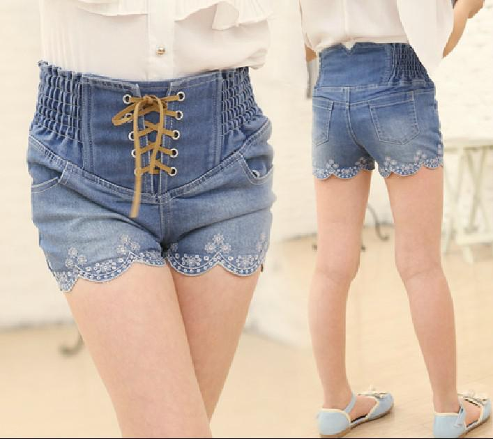 New Girls High Waist Shorts Children High Quality Washed Denim ...