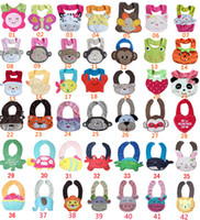 Wholesale 3d Cartoon Towel Baby - 3D Cartoon Towel Baby Bibs 3-layer waterproof baby Feeding Animal Button bibs 42 colors feedings