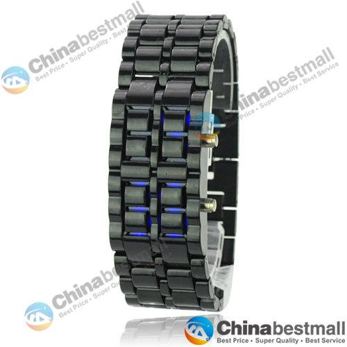 Special Price LED Watch Fashion Lava Style Iron Faceless Red Blue Digital Watch Bracelet Binary LED Wrist Watches for Man Women Gold