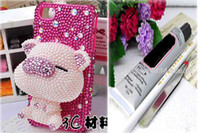 Wholesale Decoration Kits For Mobile Phone - 3D luxurious cute cartoon jewelry Rhinestone art craft cellphone mobile phone cases DIY kits decorations glue tools included