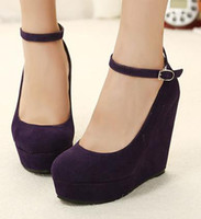 Wholesale Party Cute High Heel - 2013 Cute 2 suede purple wedges black wedges women's ankle strap high plarform wedges heel shoes