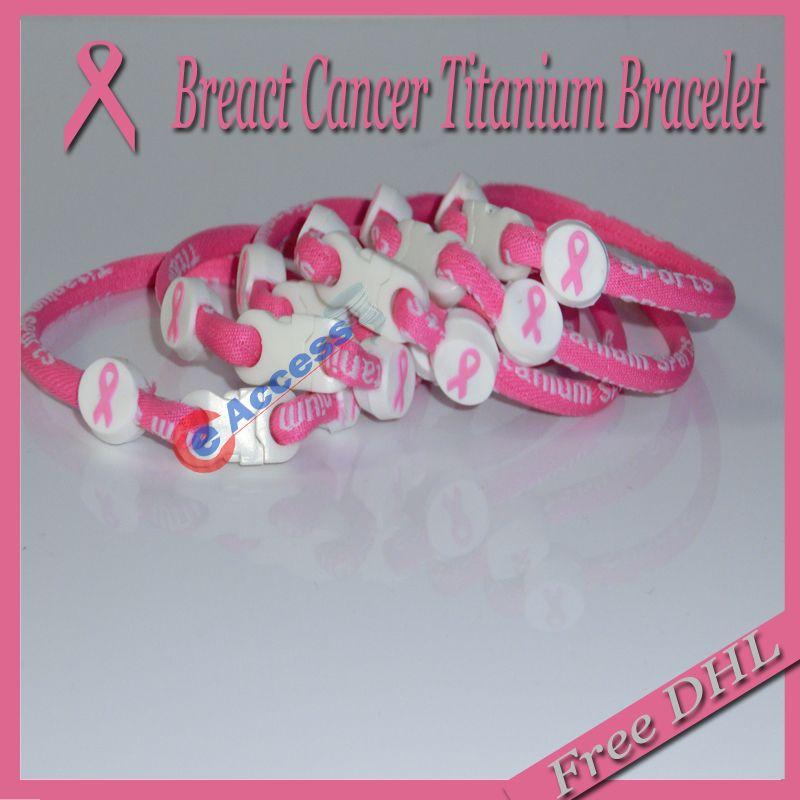 Consciência de câncer de mama rosa energia Tornado pulseira de titânio