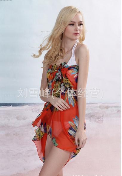 vendite calde Girasole arancione alta qualità in chiffon sciarpe velo parei stile occidentale telo mare
