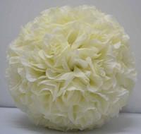Wholesale Wholesale Cream Rose Balls - Free shipping 25cm*12pcs Rose kissing ball artificial silk flower wedding party decoration cream ivo