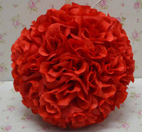 Wholesale 25cm kissing ball flowers - red color 25cm*12pcs Rose kissing ball artificial silk flower wedding party