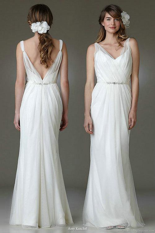 New 2013 Sexy V Neck Sheer Backless Wedding Dress Sheath Chiffon