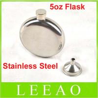 Wholesale Wholesale Liquor Prices - Lowest Price 45pcs lot 5oz Round Stainless Steel Hip Flask Window Gold Tone Liquor Container