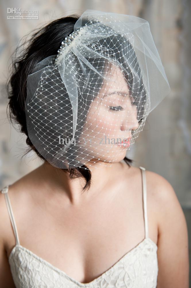 Pearl Headpiece For Wedding - Birdcage Veil - Short Wedding Veils ...