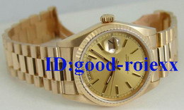 Wholesale Crystal Luxury Dress - Mens Day Date Champagne Dial Watch Men Dive Dress Gents Yellow Gold Watches