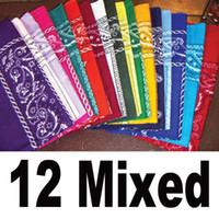 Wholesale Scarfs Dozens - SALE! 100% COTTON Lot Dozen Bandanas 12 PCS Mixed Colors Scarf Headband Outdoor Hand Wrap For Man Women