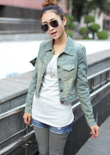 2013 Fashion Vintage Girl Short Design Denim Coat Women Jean ...