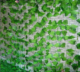 Plastic Green Vines Canada - Beautiful Simulation of Artificial Green Climbing Vines of Grape Leaves for Home Wall Decor Party Decoration Free Shipping