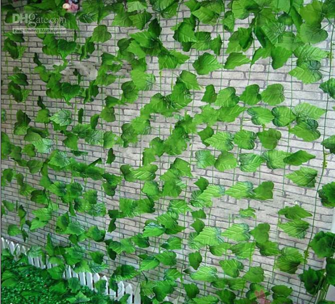 Beautiful Simulation of Artificial Green Climbing Vines of Grape Leaves for Home Wall Decor Party Decoration Free Shipping
