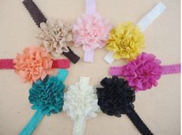 Wholesale Eyelet Flowers - Girl Eyelet Laced chiffon Flowers on Lace Frilly Headbands 100pcs lot