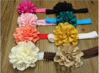 Wholesale eyelet flowers online - Girl Eyelet Laced chiffon Flowers on Lace Frilly Headbands Baby Bud silk hair band