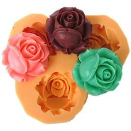 Wholesale Rose Fondant - 3D Genuine Rose three-hole shape Silicone Mold Fondant Chocolate Cake Decorating Tools Silicone Soap Mold Soap Mold For The Baking Tools
