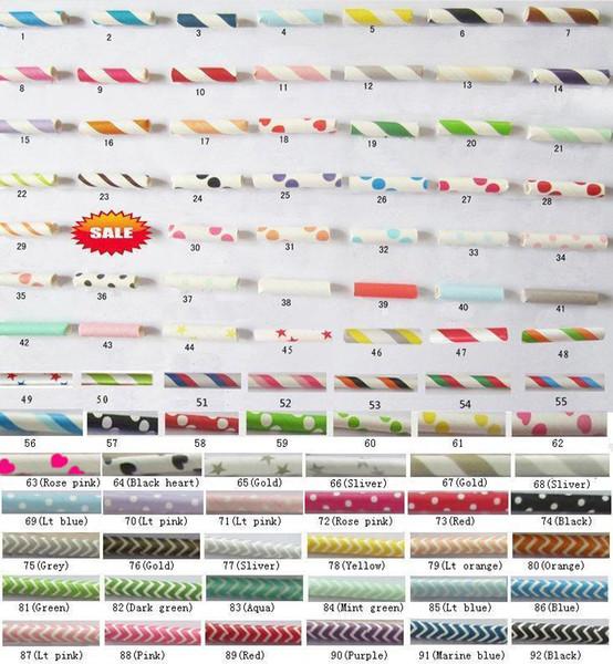 1000pcs Paglie di carta di trasporto libero, modelli di Chevron Pois a strisce che bevono cannucce di carta 92