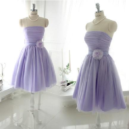 Jonge dame strapless korte chiffon bruidsmeisje jurk homecoming partij cocktail prom jurk goedkope prijs goede kwaliteit gratis verzending