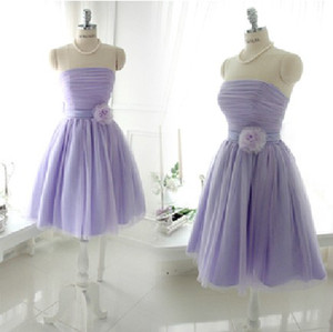 Wholesale Young lady Strapless short chiffon Bridesmaid dress homecoming party cocktail prom dress cheap price good quality