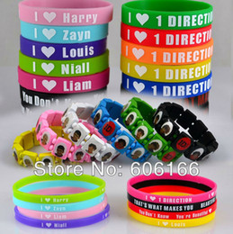Wholesale One Direction Wood - 1D I Love One Direction Super Star Mixed Wood Stretch Bracelets Silicone Wristband Fashion Jewelry