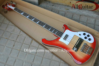 guitarra china sunburst al por mayor-Deluxe 4 cuerdas Bass 4003 flores vinculantes Body sunburst color China Bajo eléctrico